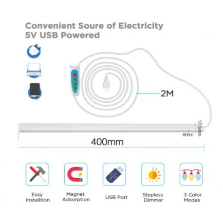 Barra led cucina USB magnetica a 3 Colori Fredda/Calda/Neutra
